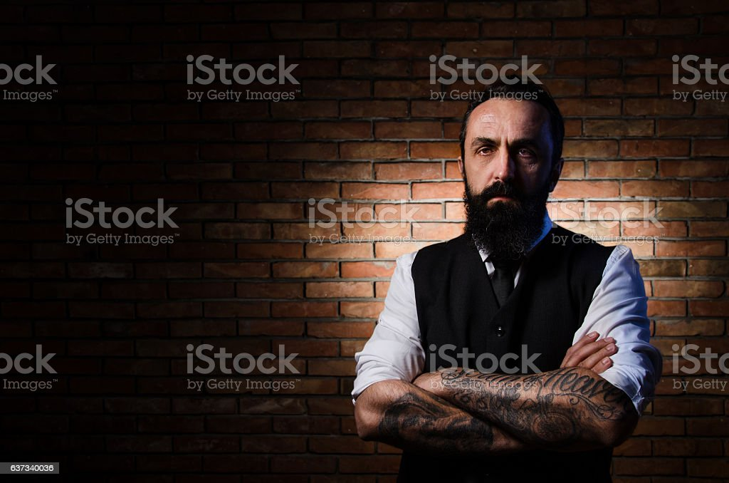Portrait of rough men with beard and tattoos, biker – Foto