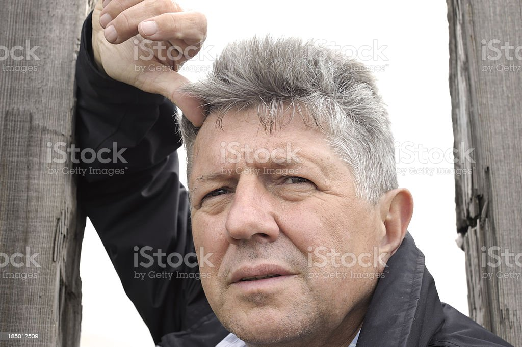 Portrait of rugged outdoor man stock photo
