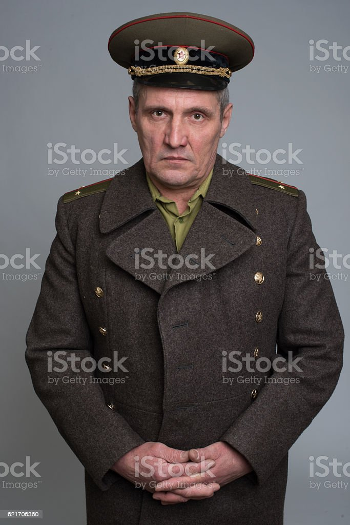 portrait of Russian military officer stock photo