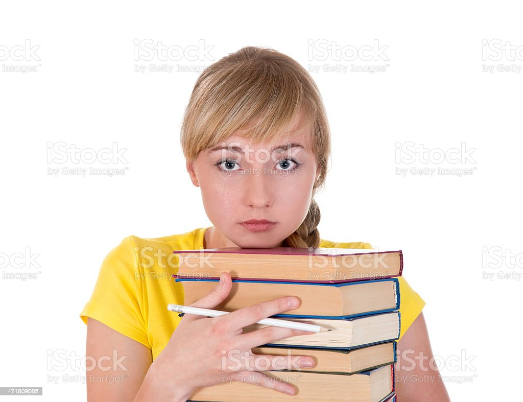 portrait of sad a girl with books royalty-free stock photo