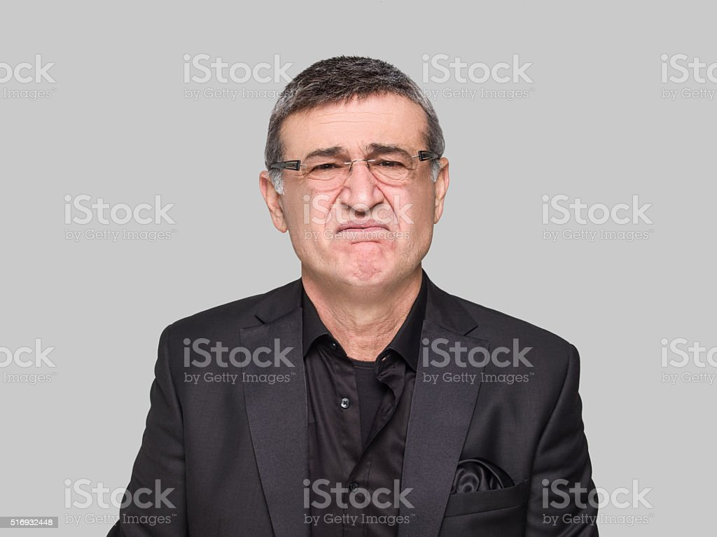 Portrait of sad businessman stock photo