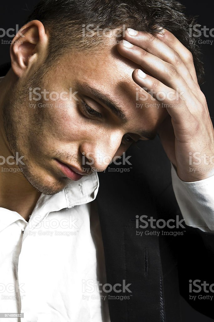 Portrait of sad depressed young man royalty-free stock photo