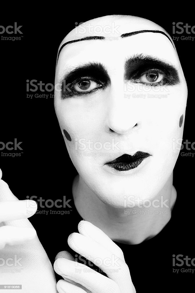 Portrait of  sad mime in white gloves royalty-free stock photo