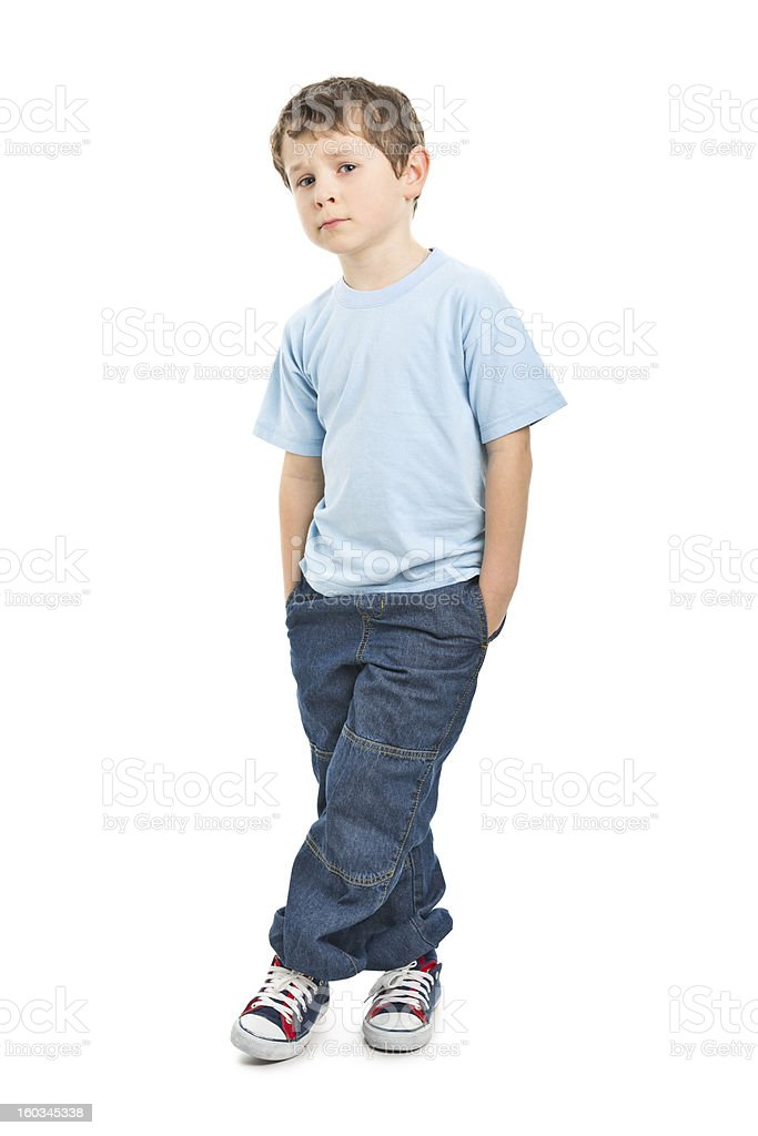 portrait of sad small boy stock photo