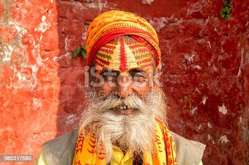 Portrait of Sadhu, holy man, Kathmandu, Nepal
