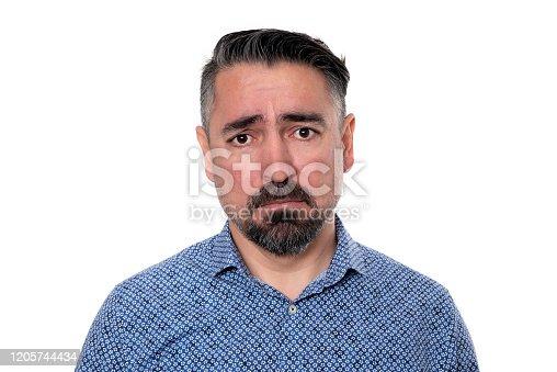 805011368 istock photo Portrait of sadness man wearing blue shirt 1205744434