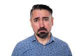 istock Portrait of sadness man wearing blue shirt 1205744434