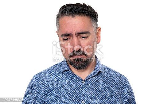 805011368 istock photo Portrait of sadness man wearing blue shirt 1205744830