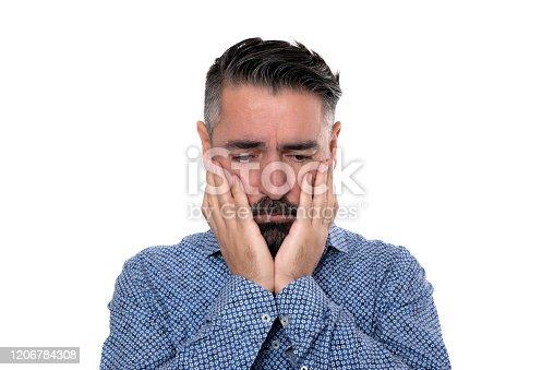 805011368 istock photo Portrait of sadness man wearing blue shirt 1206784308