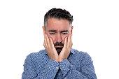 istock Portrait of sadness man wearing blue shirt 1206784308