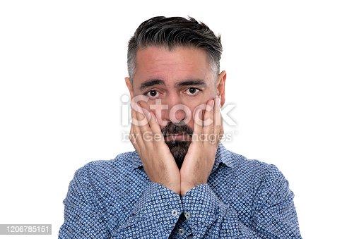 805011368 istock photo Portrait of sadness man wearing blue shirt 1206785151