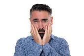 istock Portrait of sadness man wearing blue shirt 1206785151