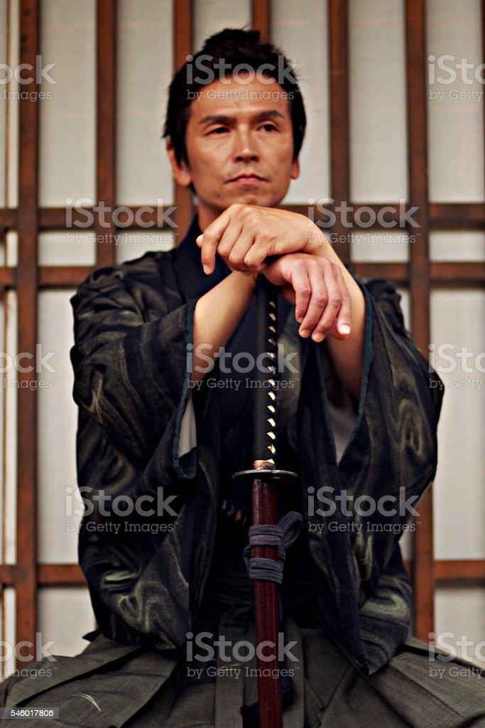 Portrait of Samurai stock photo