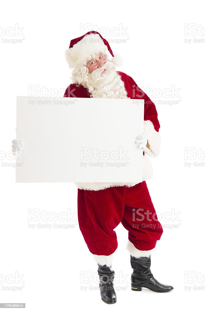 Portrait Of Santa Claus Holding Blank Billboard royalty-free stock photo