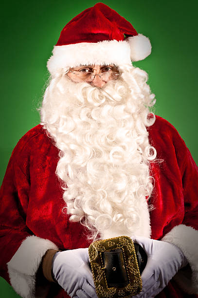 Portrait of Santa Claus on green background stock photo
