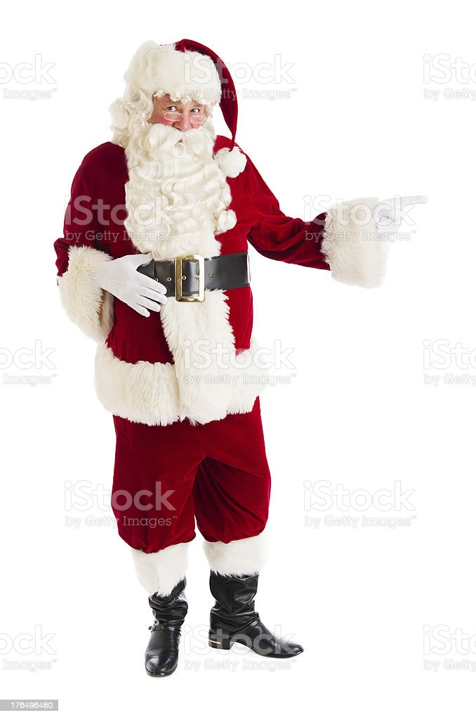 Portrait Of Santa Claus Pointing royalty-free stock photo