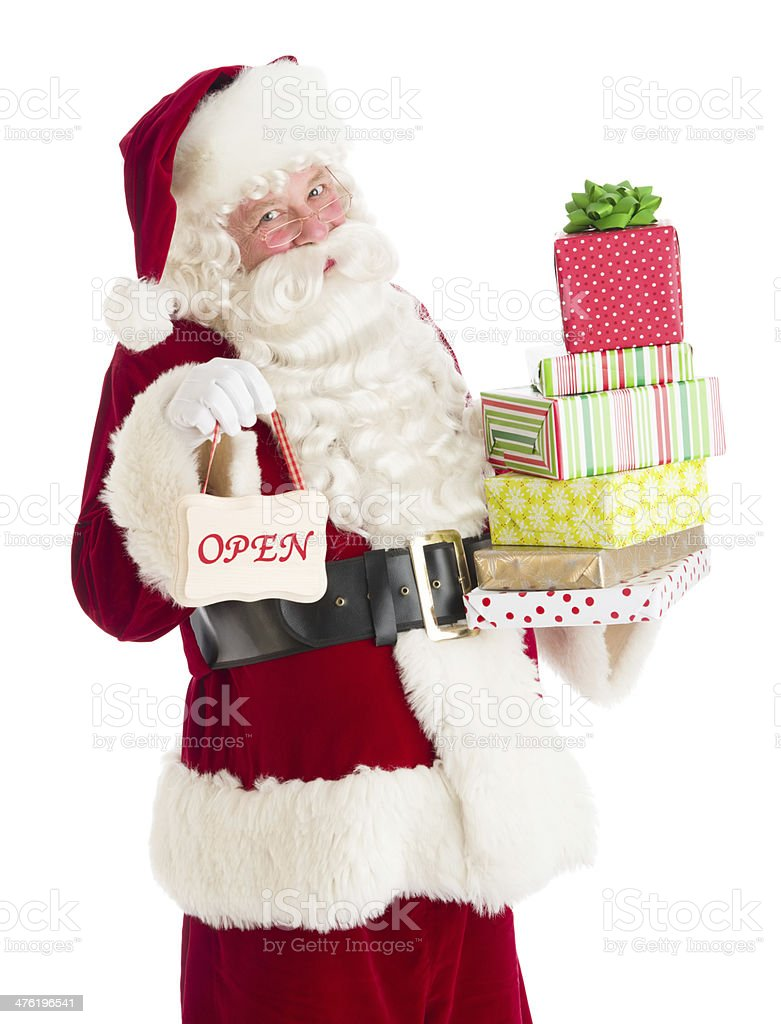 Portrait Of Santa Claus With Gifts And Open Sign royalty-free stock photo