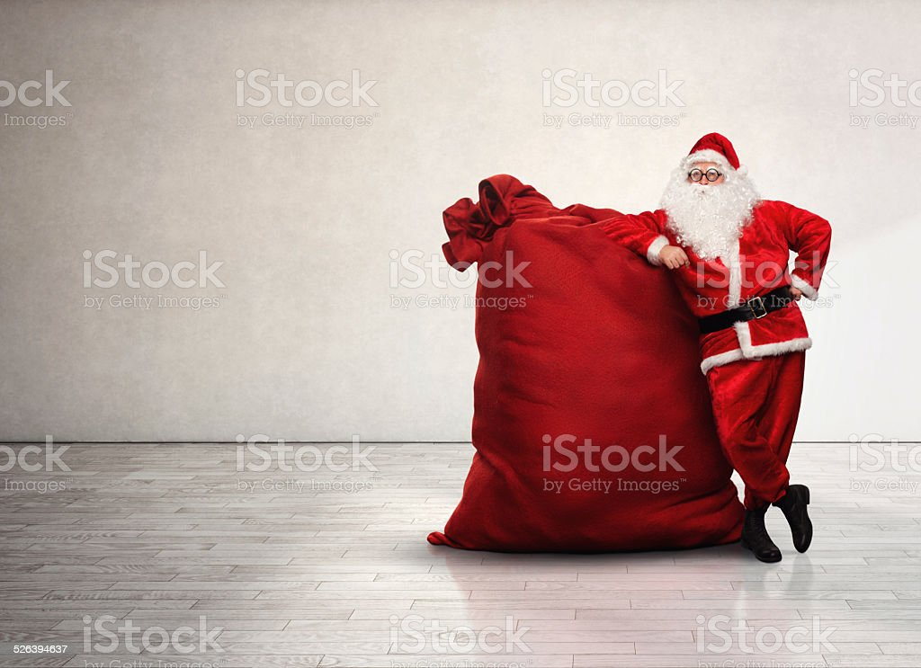 Portrait of Santa Claus with red sack stock photo