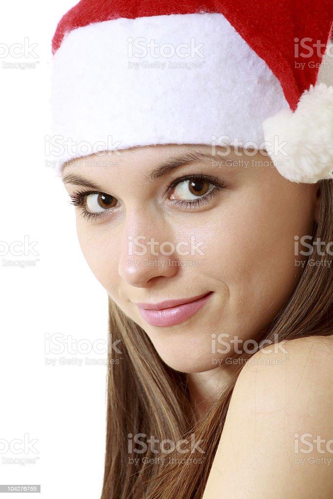 Portrait of Santa girl stock photo