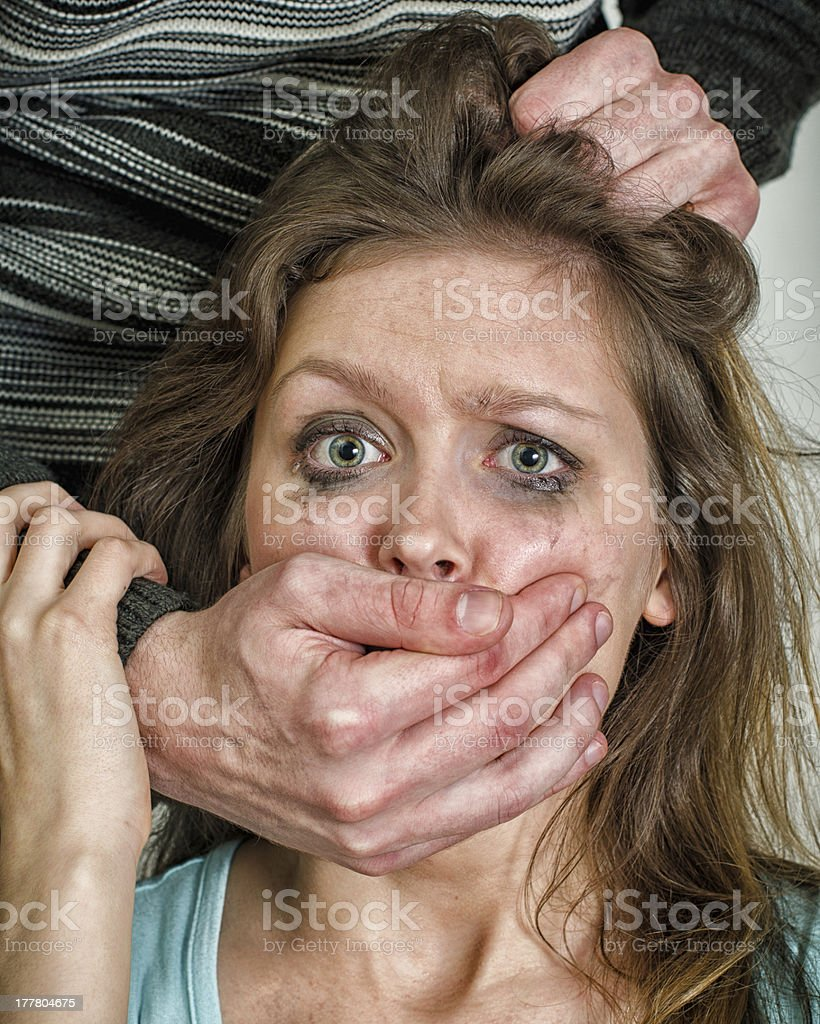 Portrait of scared woman with tears. Violence concept royalty-free stock photo