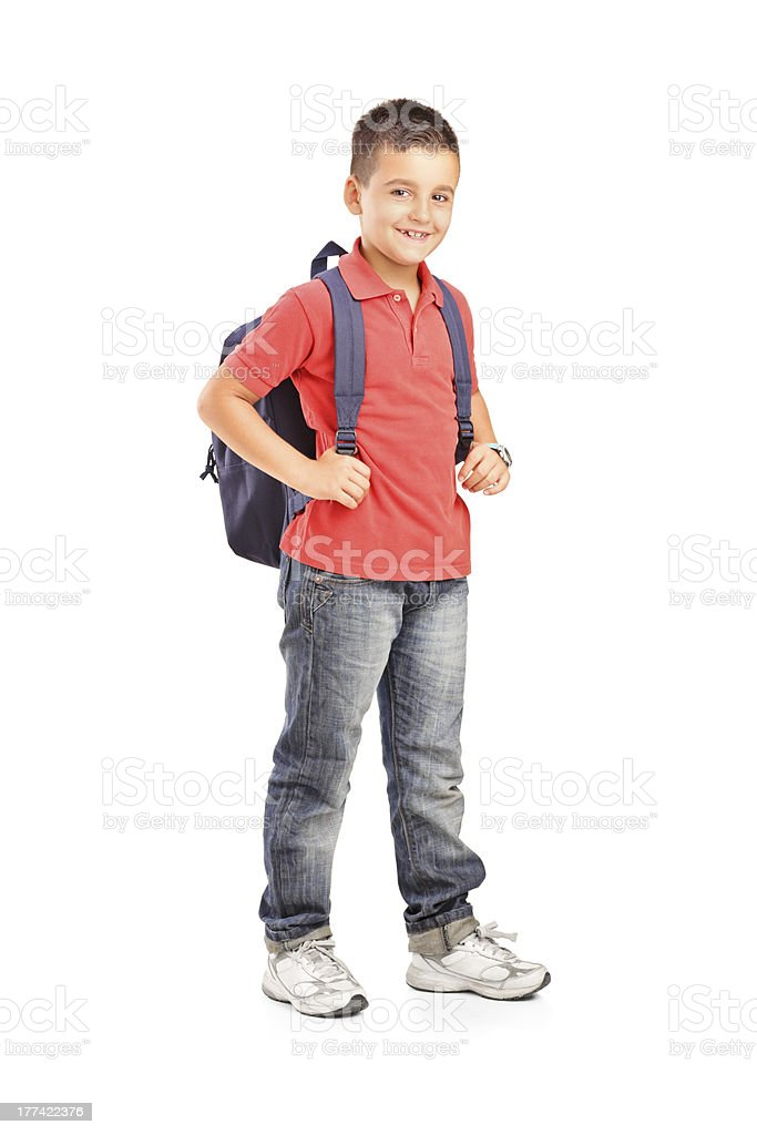 Portrait of school boy with backpack on white background stock photo
