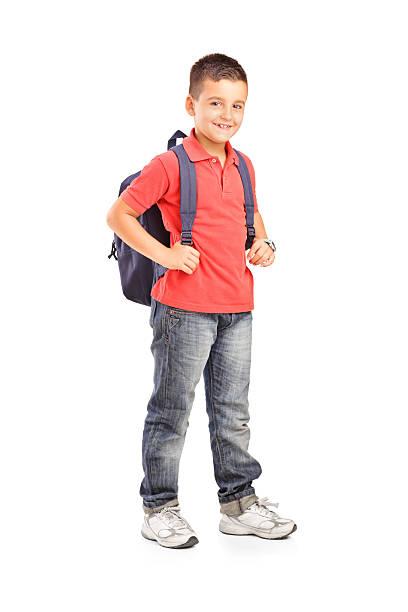 schule junge mit rucksack - liebeskind umhängetasche stock-fotos und bilder