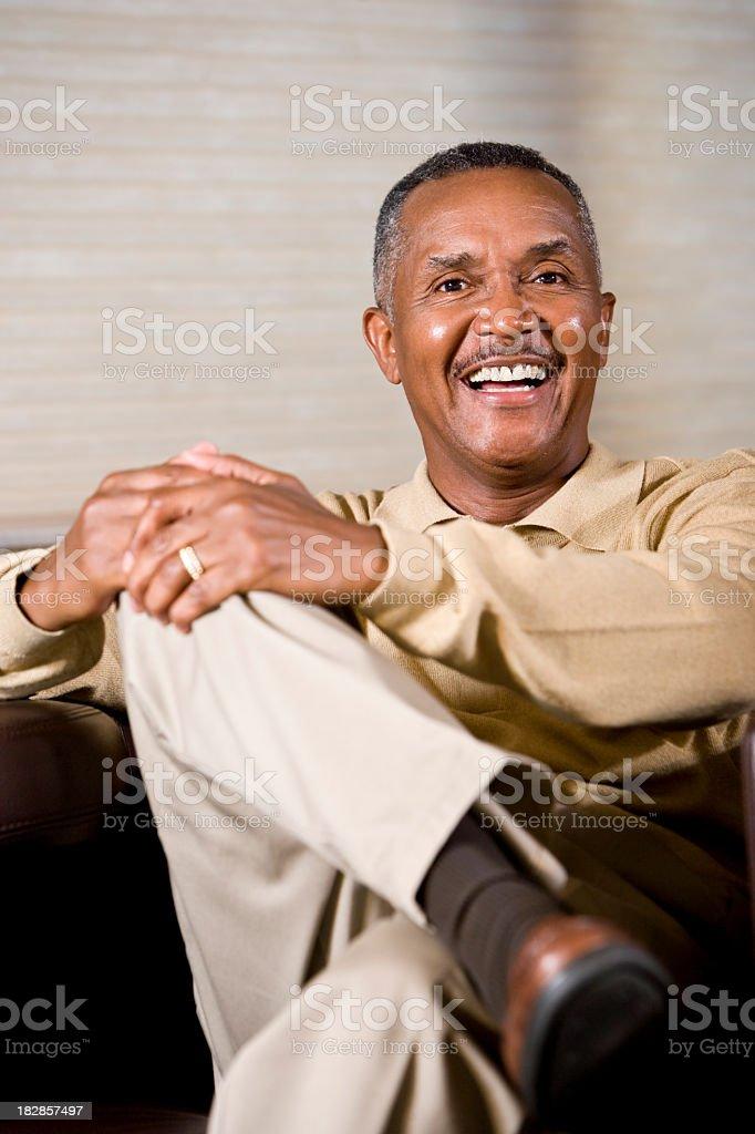 Portrait of senior African American man smiling stock photo