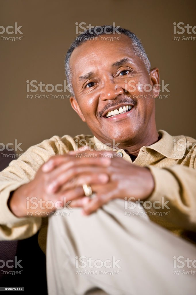 Portrait of senior African American man smiling stock photo