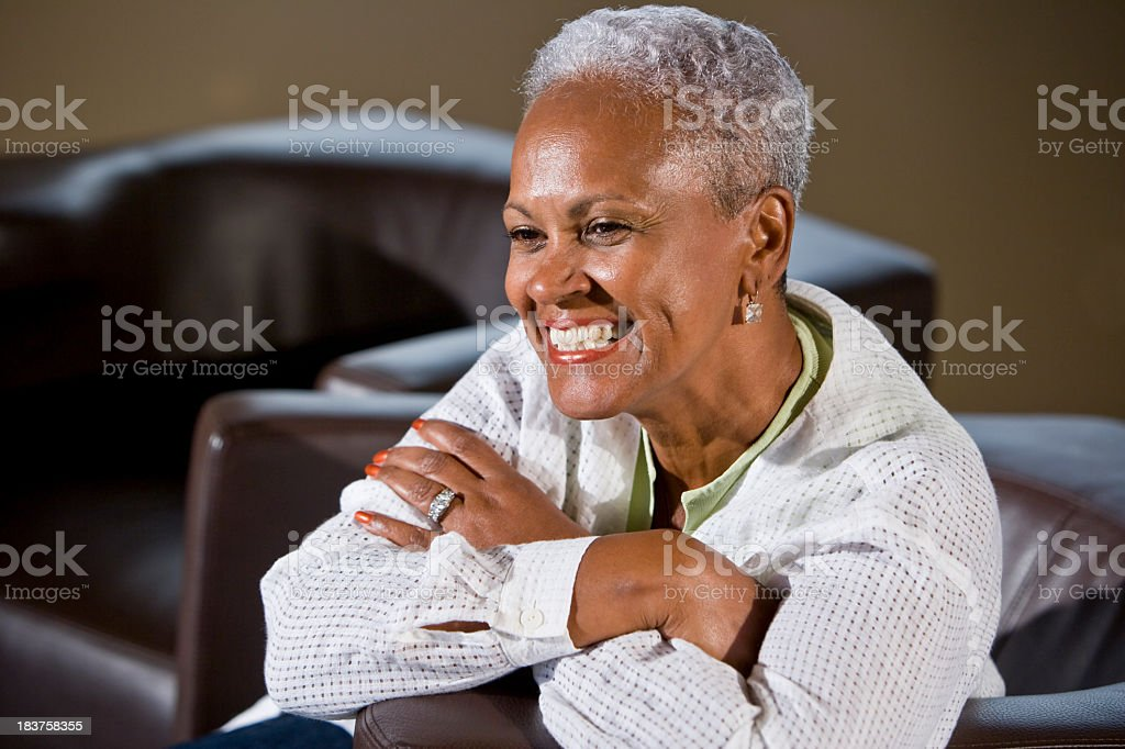 Portrait of senior African American woman smiling stock photo