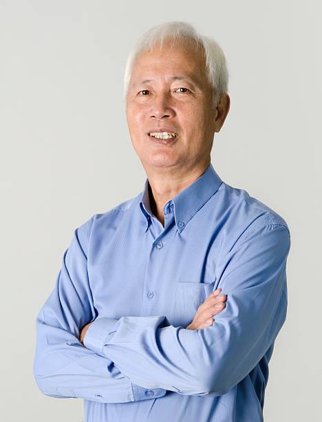 portrait of senior asian businss man stock photo