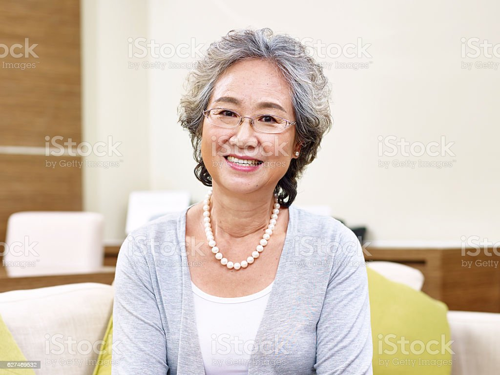 portrait of senior asian woman stock photo