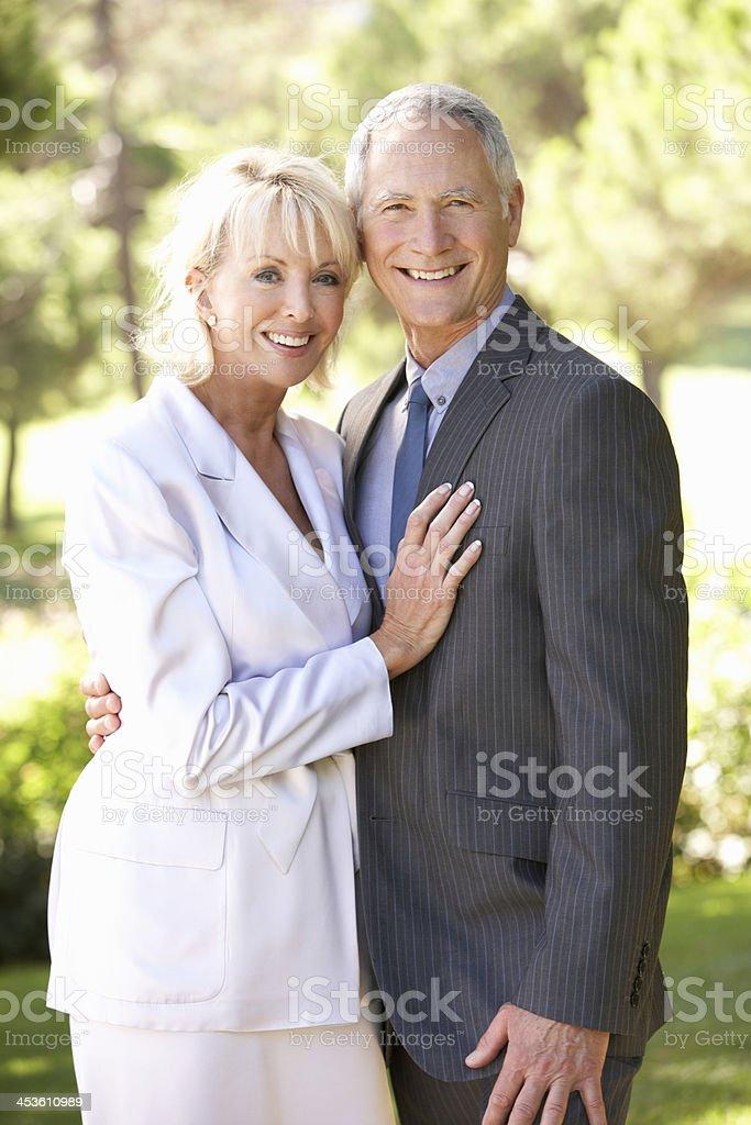 Portrait Of Senior Bridal Couple Outdoors royalty-free stock photo
