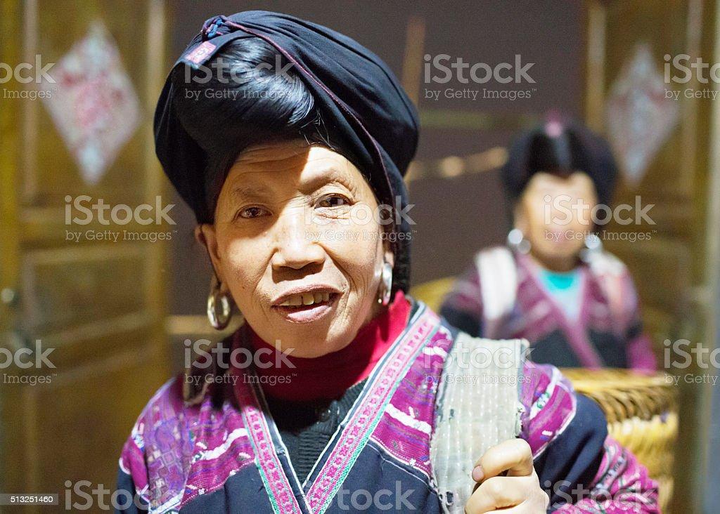 Portrait of senior Chinese minority woman stock photo