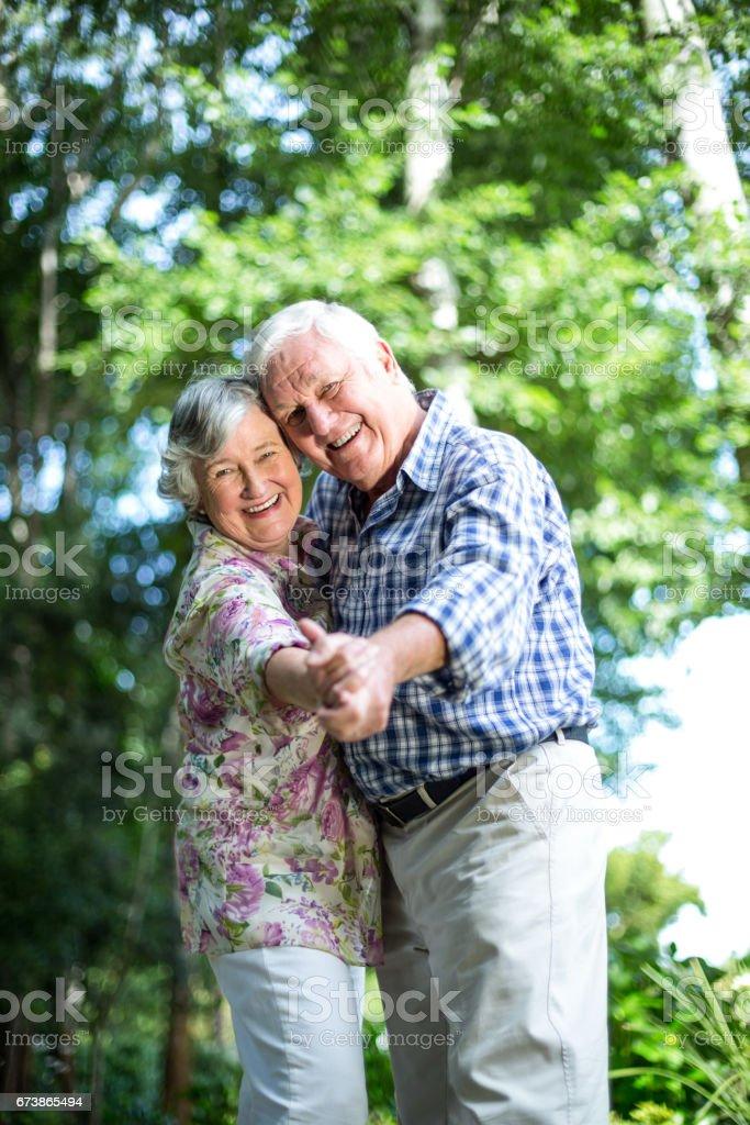 Üst düzey çift ağaçlar karşı dans portresi royalty-free stock photo