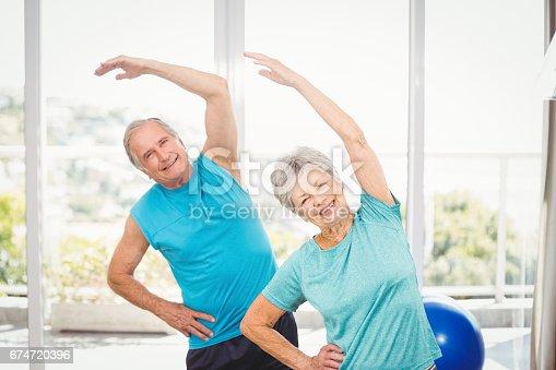 istock Portrait of senior couple exercising 674720396