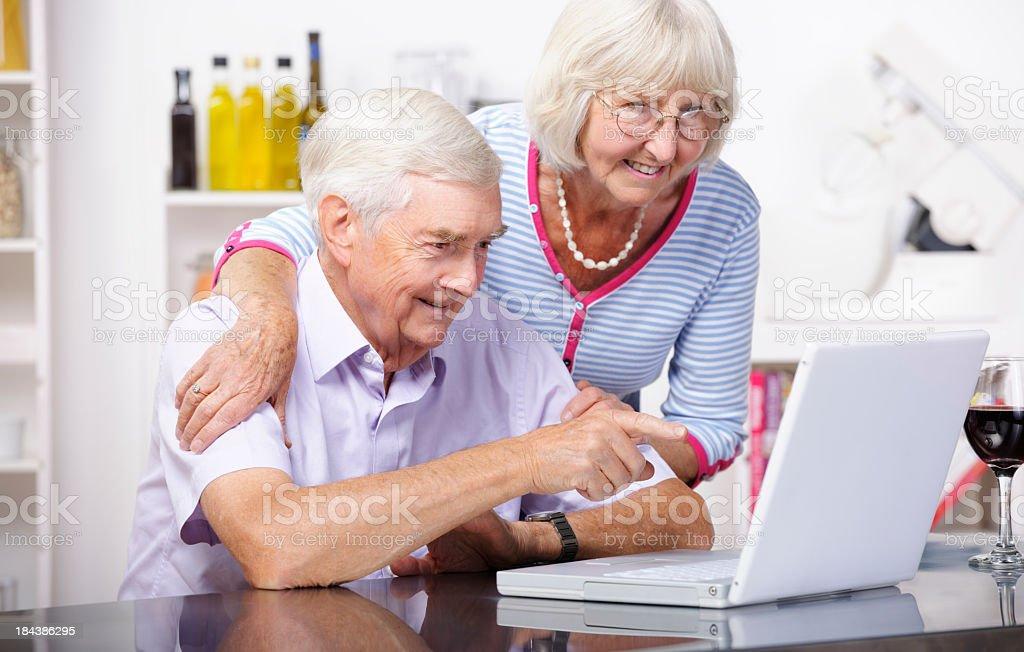 Portrait Of Senior Couple Using A Laptop/ Computer royalty-free stock photo