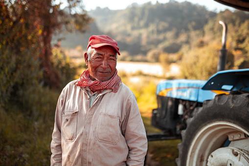 Portrait of senior farm worker