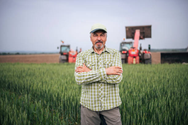 Portrait Of Senior Farmer On Agricultural Field.