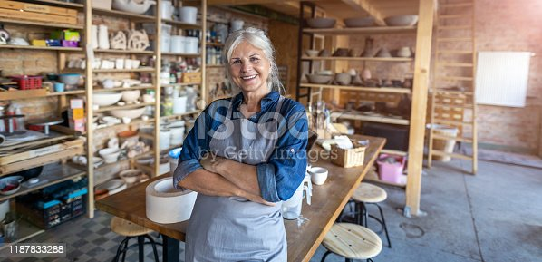 istock Portrait of senior female pottery artist in her art studio 1187833288