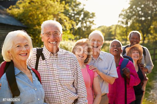 istock Portrait Of Senior Friends Hiking In Countryside 874800324