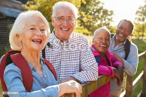 istock Portrait Of Senior Friends Hiking In Countryside 874800988
