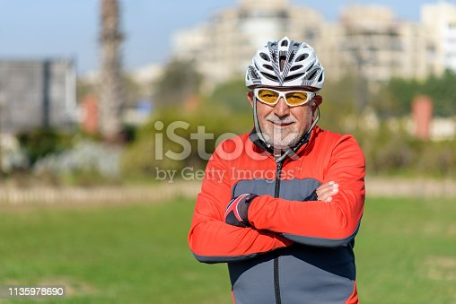 1029243348 istock photo Portrait Of Senior Male Cyclist 1135978690