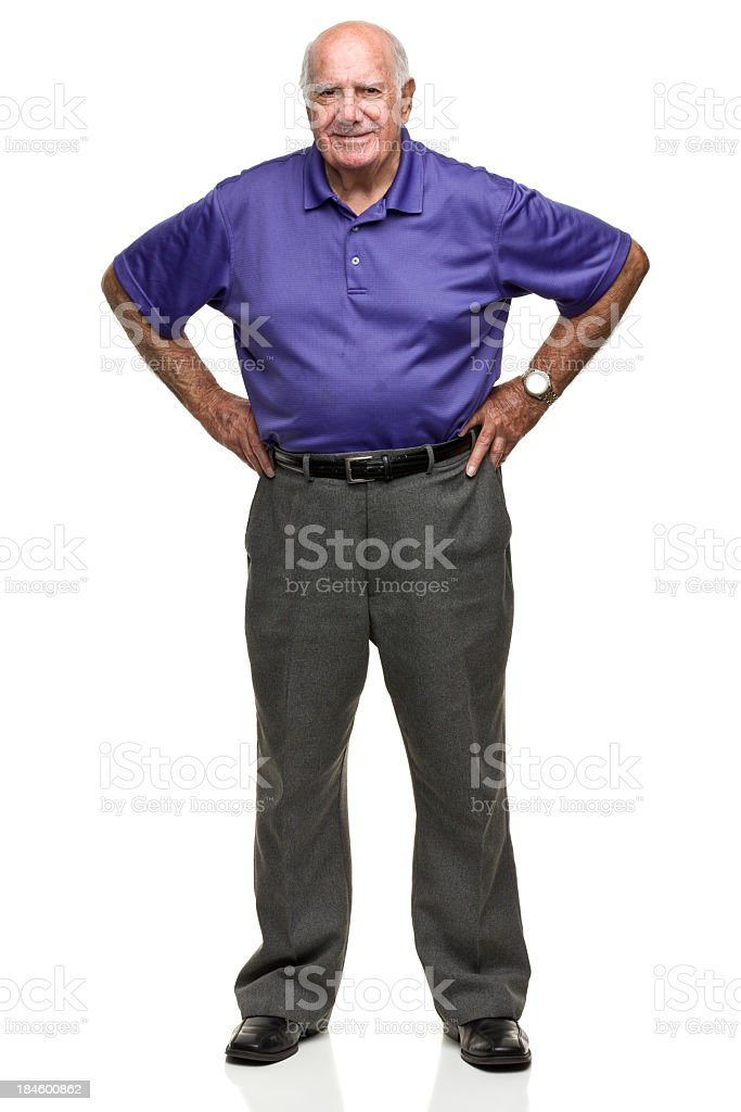 Portrait of senior male pal sing with hands on hips stock photo
