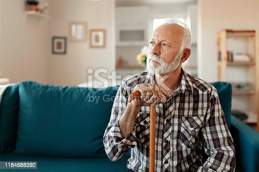 Close up Portrait of a thoughtful senior man with beard at home in the living room looking away