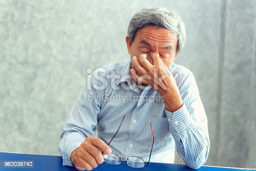 Portrait of senior man is headache and having pain his sinus., Healthcare concept