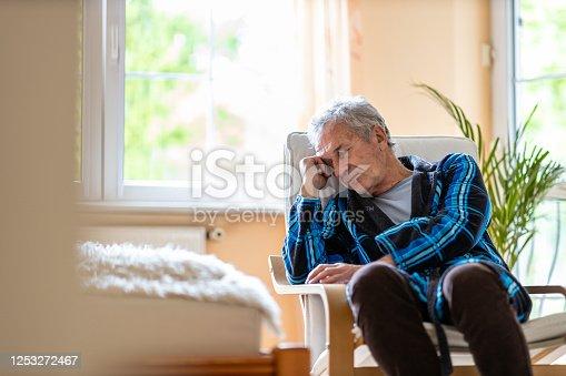 1162960006 istock photo Portrait of senior man looking depressed 1253272467