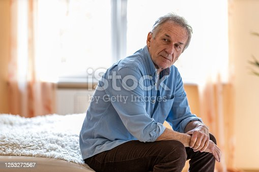 1162960006 istock photo Portrait of senior man looking depressed 1253272567