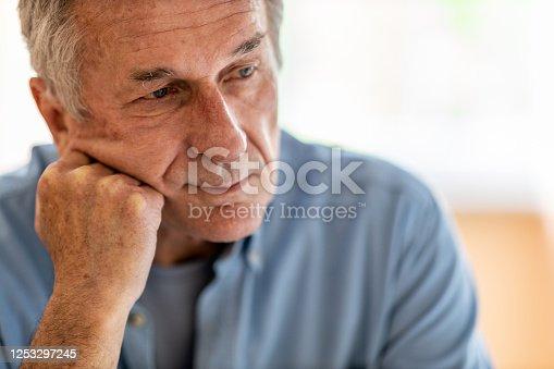 1162960006 istock photo Portrait of senior man looking depressed 1253297245