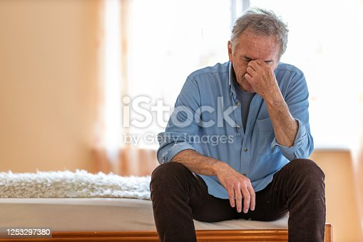 1162960006 istock photo Portrait of senior man looking depressed 1253297380