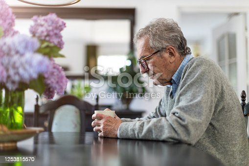 1162960006 istock photo Portrait of senior man looking depressed 1253815570